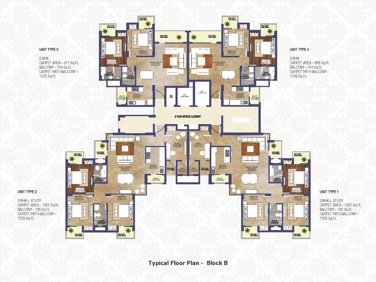 Typical Floor Plan Block - B