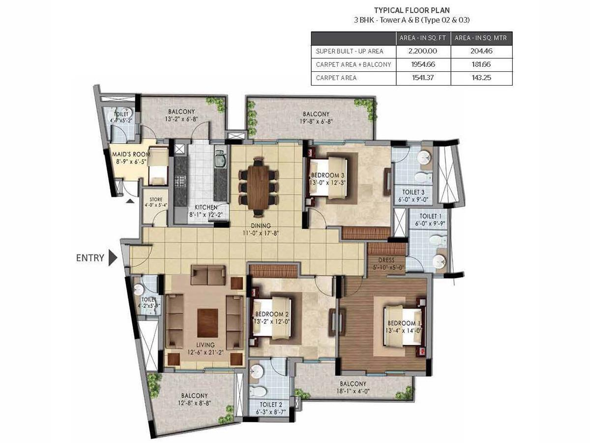 3BHK – TOWER A & B (Type 02 & 03)