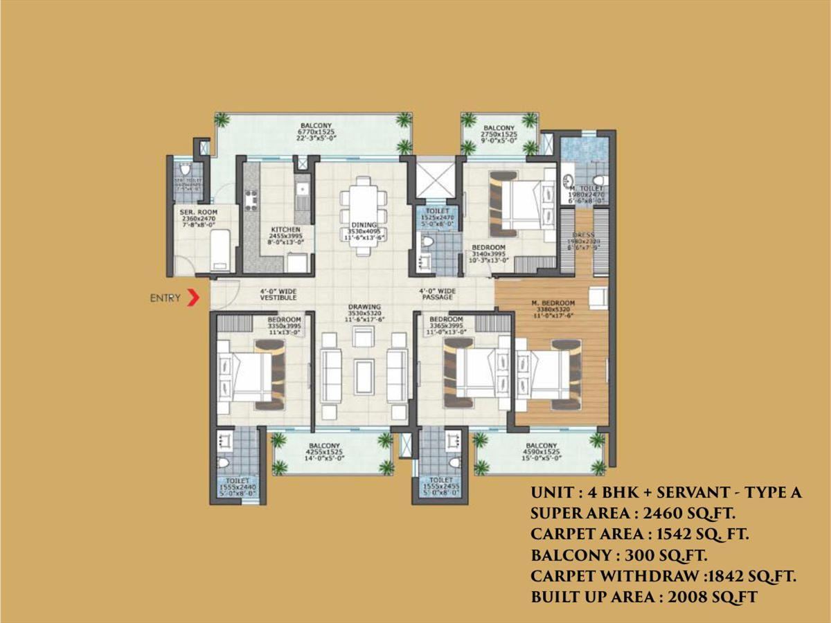 4BHK + SERVANT - TYPE A 2460 SQ. FT.