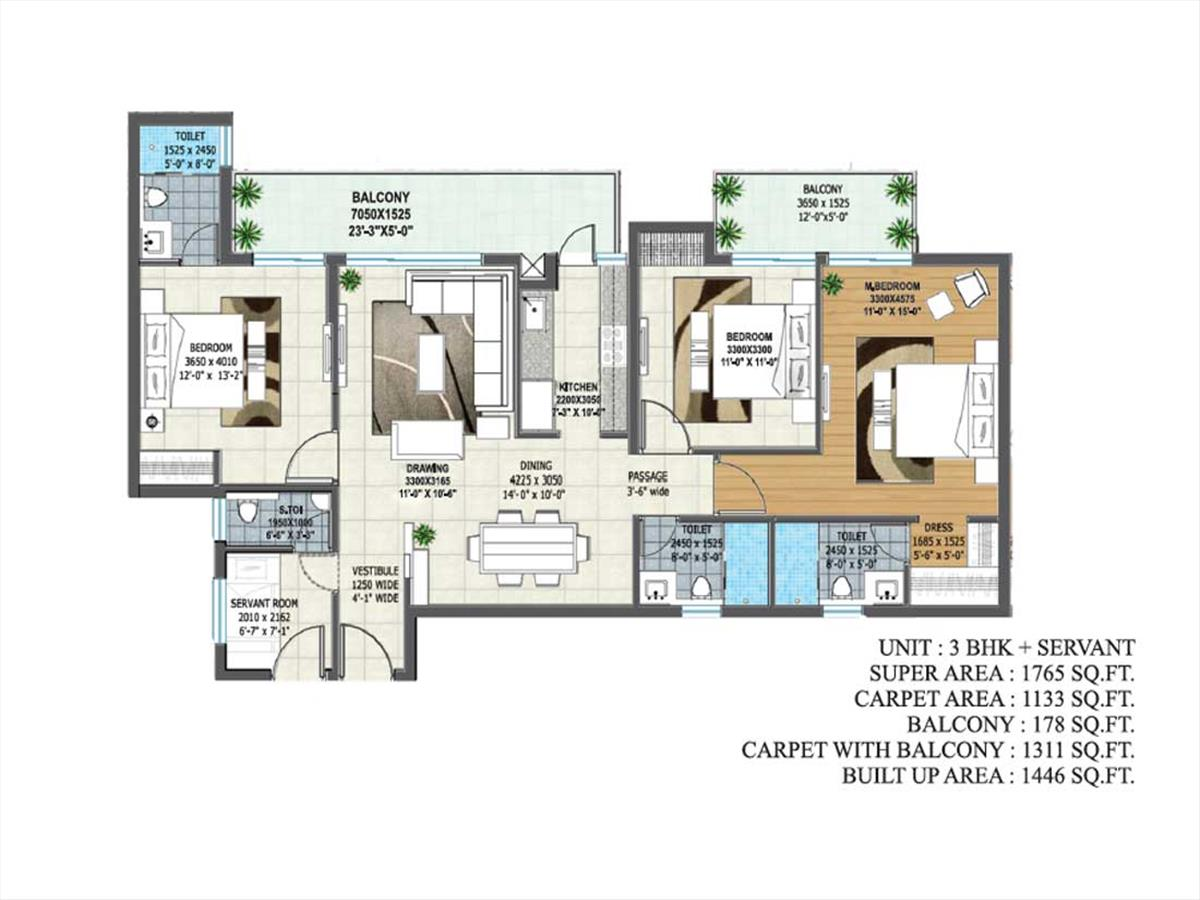 Tower B1 & B3 - 3BHK + Servant