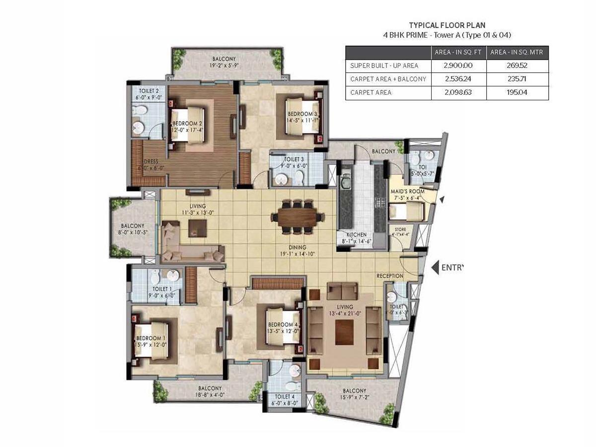 4BHK PRIME – TOWER A (Type 01 & 04)