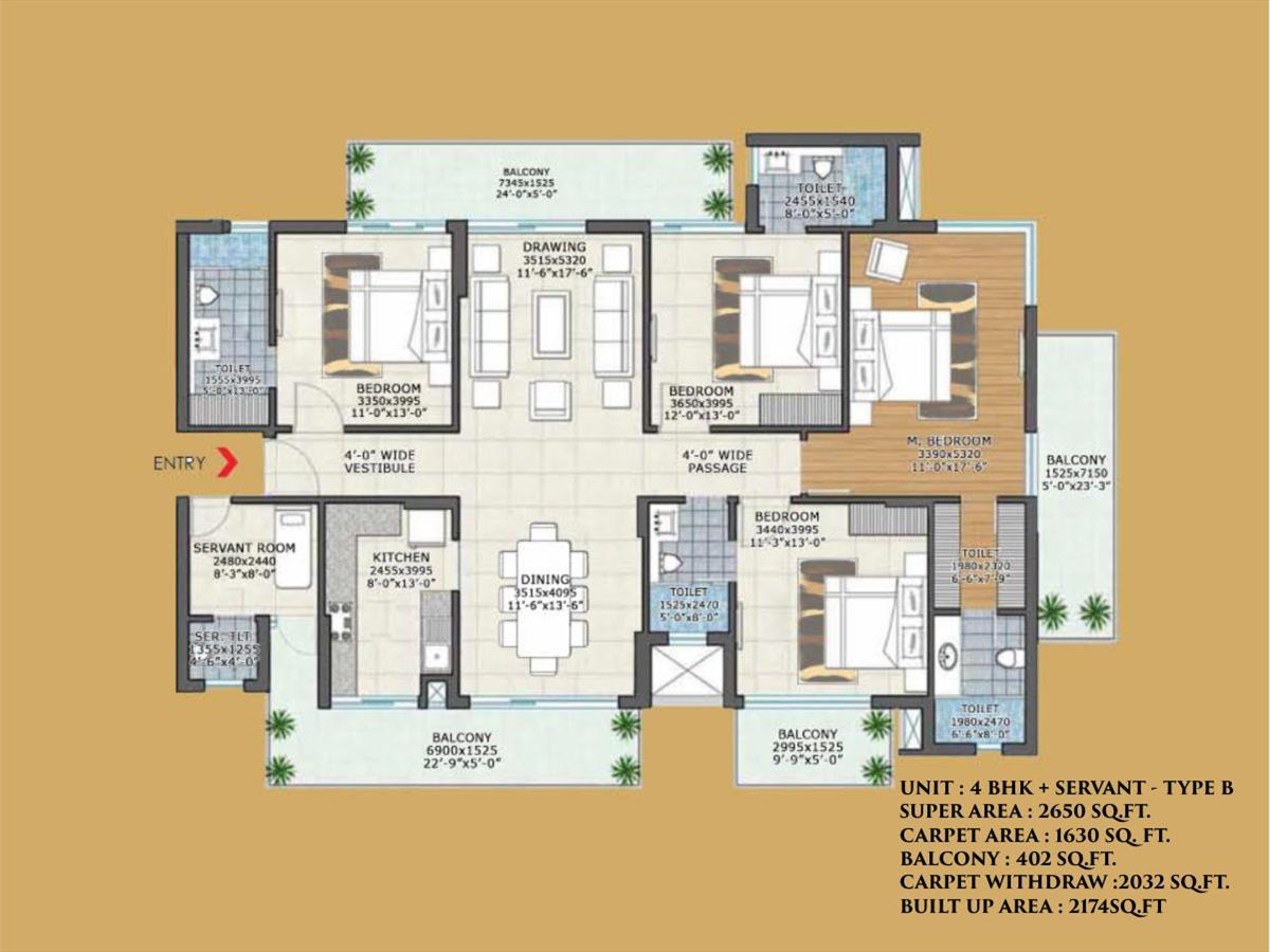 4BHK + SERVANT - TYPE B 2650 SQ. FT.